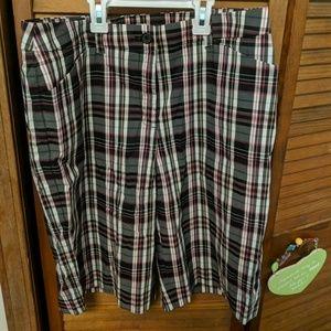 Charcoal and Pink plaid bermuda shorts